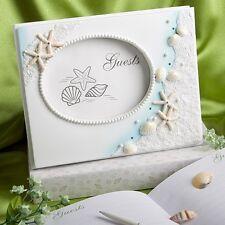 Beach theme summer wedding guest book seashell bridal favor