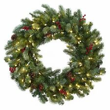 "NEW Nearly Natural Lighted Pine Wreath with Berries and Pine Cones, 30"" Pre-lit"