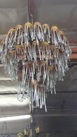 ART DECO 4 LEVEL WROUGHT  IRON CHANDELIER & 54 FLOWING BLOWN GLASS SHADES #3