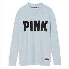 Victorias Secret PINK Stadium Mock Neck Pullover Sweats shirt L XL Tunic Campus