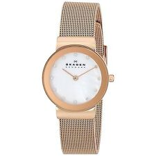 NEW Skagen 358SRRD Women's White Mother of Pearl Dial Thin Rose Gold Mesh Watch