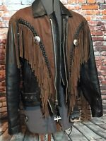 MANZOOR RARE GENUINE LEATHER BIKERS JACKET  BLACK WITH BROWN TRIM AND FRINGES
