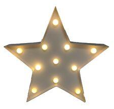 Large LED Light UP Star Christmas 35cm Home Decoration Battery White Retro Sign