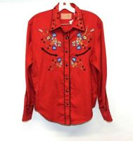 SCULLY womens deep red Floral Embroidered Western Pearl Snap Shirt Top M