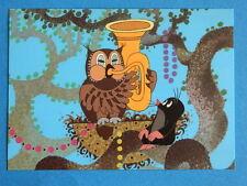 Postkarte KLEINE MAULWURF PAULI  mit Uhu und Tuba   NEU AK PK  Zdenek  Miler