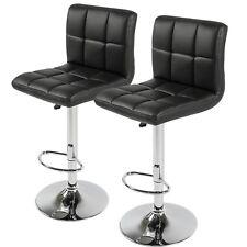 Hexa grid Black PU Leather Height Adjustable Bar Stool - set of 2