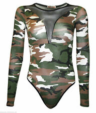 Womens Front & Back Half Mesh Insert Long Sleeve Bodysuit Leotard Plus Size 8-22 Camouflage SM 8-10
