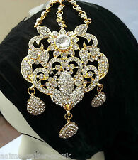 INDIAN BRIDAL JHUMER HEAD JEWELLERY GOLD PLATED CLEAR STONE NEW AQ/JH7