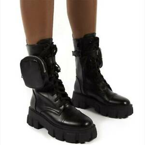 Womens Chunky Ankle Boots Pocket Punk Biker Shoes Round Toe Zip Up Platform Boot