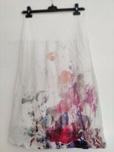 HINDAHL & SKUDELNY Jersey-Rock A-Linie Damen Gr. M  Weiß mit floralem Muster