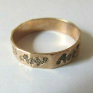 Antique Victorian 9 K ROSE GOLD Band RING 1.5 Grams SIZE 4 1/2 Hallmark