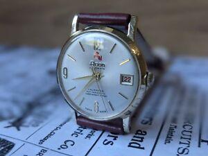 Gents Vintage Agon Calender Dauphine Hands Sunburst Good Plated Watch - Working