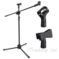 1PCS Microphone Boom Stand Dual Mic Clip Folding Arm Tripod Height Adjust Holder