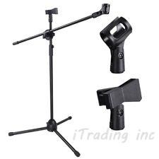 1PCS Microphone Boom Stand Dual Mic Clip Folding Arm Tripod Height Adjust Holder