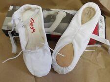 NWT CAPEZIO SPLIT SOLE BALLET SHOES CANVAS White DANCE style 2039 suede sole