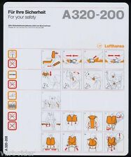 Lufthansa A320-200 safety card T/N 413-0204 6/96 - very good cond sc553