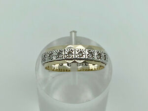 Gorgeous Vintage 9ct Gold & Sterling Silver Spinel Eternity Band Ring Size N