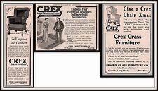 AD LOT OF 3 1905 -1909 D ADS  CREX FURNITURE  ROCKING CHAIR FURNITURE RUG