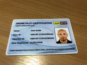 Drone Flyer ID Card -  UAS Pilot Identification - Drone Operator ID Card UK