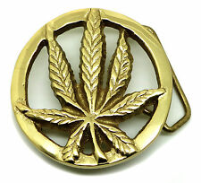 Cannabis Leaf Belt Buckle Weed Marijuana Solid Brass Authentic Baron Buckles
