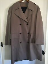 Mens Vintage Textured Polyester Khaki Tan Double Breasted Trench Coat