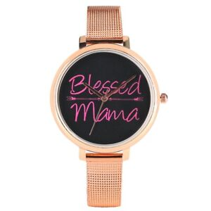 Gift to Mom Blessed Mama Women Lady Analog Quartz Bracelet Watch Leather Steel