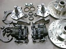 """MUSTANG II FRONT 11"""" DRILLED SLOTTED CHEVY ROTORS DISC BRAKE KIT 2"""" DROP SPINDLE"""