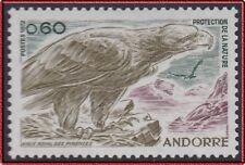 1972 ANDORRE N°219** Oiseau : Aigle des Pyrénées, French Andorra Bird Eagle MNH