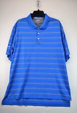 Adidas Men's Blue Striped Xl Polo Golf Shirt ClimaCool Short Sleeves (E7)