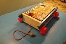 Playskool Vintage Wooden 22 Letter Block Wagon Pull String Toy