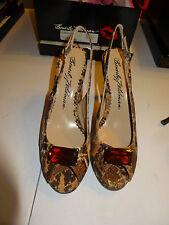 "Beverly Feldman 4"" Heel Peep Toe Strap Back Ladie Shoes Size 8.5M Cork Snake NEW"