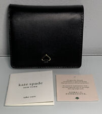 KATE SPADE Small Bifold Wallet Nadine Black Blush Pink Smooth Italian leather