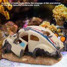 Air Action White Beetle Car Toy Kids Aquarium Ornament for Fish Tanks Decor