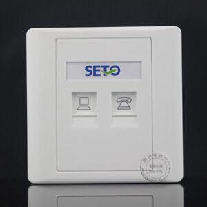 SETO Wall Socket 2 Port 1 port CAT6 RJ-45 & 1 port RJ-11 Panel Faceplat RJ45