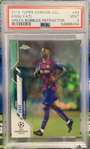 2019 Topps Chrome UCL Ansu Fati Rc #45 Green Bubbles Refractor PSA 9 Mint