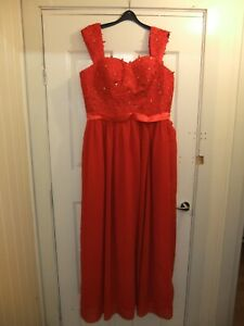 Women's Ladies Red Dress full length oriental style lace up back size 14 (4)