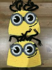 2 New Handmade Crochet Minion Baby Hats 0-3 Months
