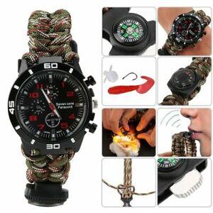 Military Tactical Watch Survival Weben Kompass Armband Uhr für Hiking Camping