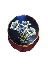 Vintage  STRATTON Dark Blue Enamel Lillies Powder COMPACT