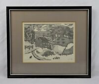 Vintage Mid Century Modern Art Etching Print of Pastoral Farm Scene Signed