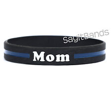 1 Mom Thin Blue Line Wristband - High Quality Debossed Color Filled Bracelet