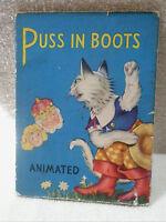 Vintage SAALFIELD PUBLISHING PUSS IN BOOTS Illus. Book 1949  Animated Pull Tab