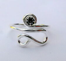 Sterling Silver (925) Adjustable Clear Stone Toe Ring ! New !