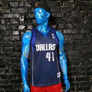 Dirk Nowitzki Dallas Mavericks Jersey NBA Navy Blue Champion Mens Size S