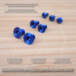Spyderco Paramilitary Para 3 PM3 Custom Titanium 7pc BLUE Anodized Screw Set