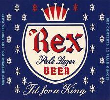 Rex Pale Lager Beer, Maier Brewing, Los Angeles, Calif. Vintage Paper Beer Label