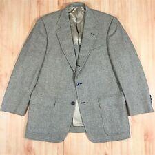 Men's Norman Hilton 3/2 Brown Herringbone Patch Sport Coat 42 43 R Ivy Trad USA
