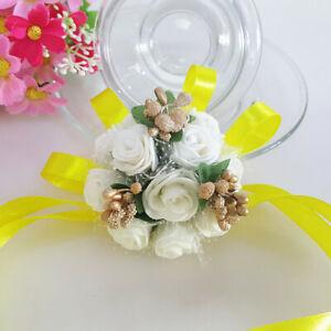 Bridesmaid Wedding Artificial Roses Pearl Corsage Wrist Flowers Ribbon Bracelets