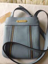 "NWT MICHAEL KORS ""Moxley"" Crossbody shoulder bag blue leather"