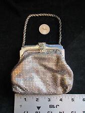 Vintage Whiting & Davis Small Silver Mesh Handbag Purse with Rhinestone Closure